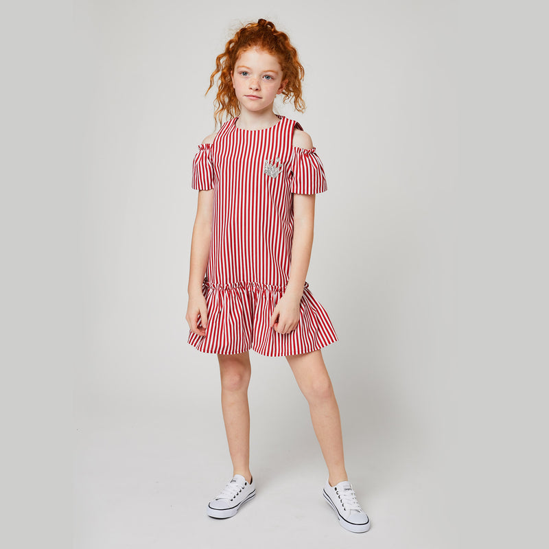 Girls Red Striped Offshoulder Dress
