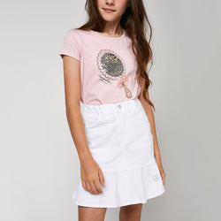Girls White Flared Skirt