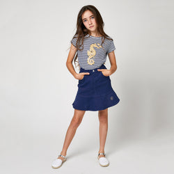 Girls Navy Flared Denim Skirt