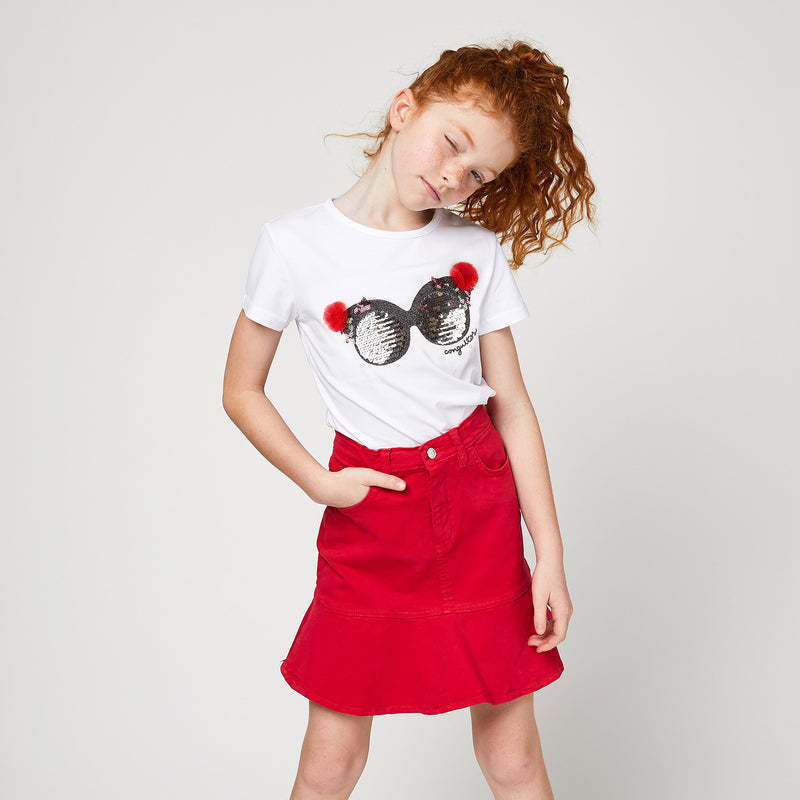 Girls Red Flared Skirt
