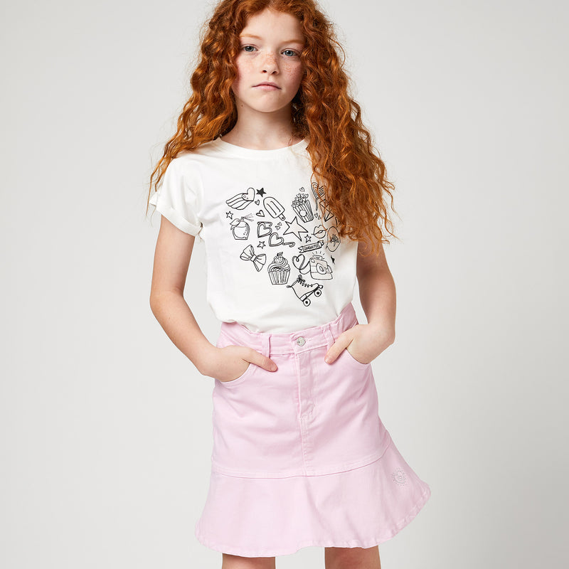 Girls Pink Flared Denim Skirt