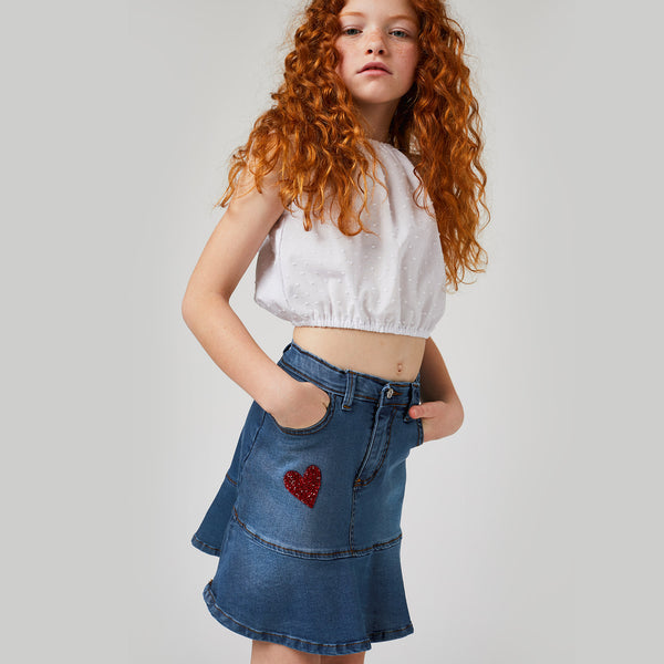 Girls Medium-Wash Denim Flared Skirt