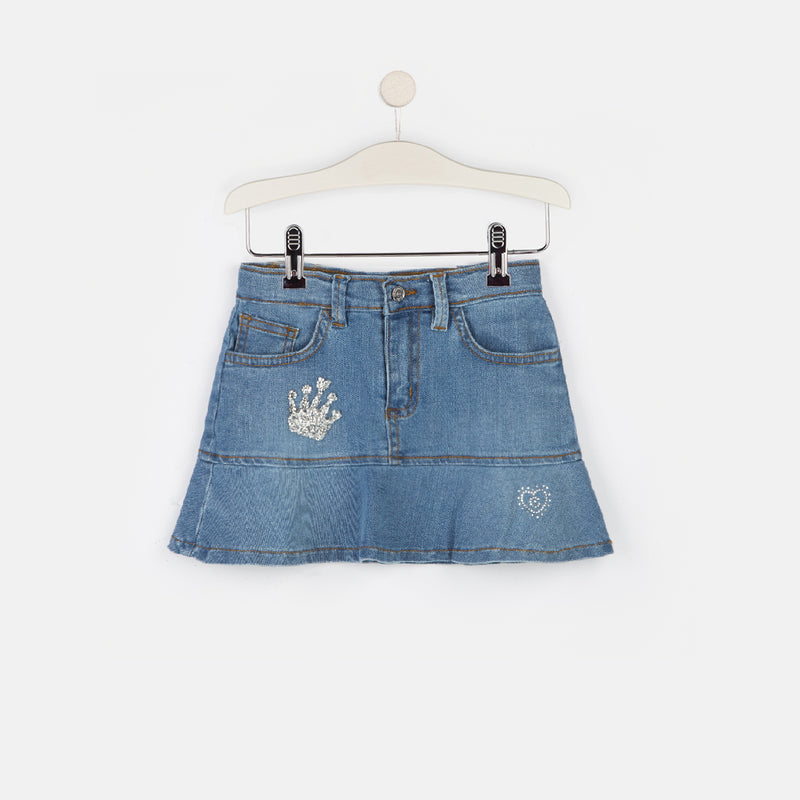 Girls Light-Wash Denim Flared Skirt
