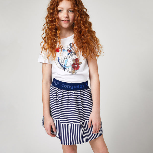 Girls Navy Striped Poplin Skirt
