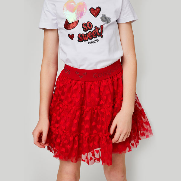"Girls ""Hearts"" Red Tulle Skirt"