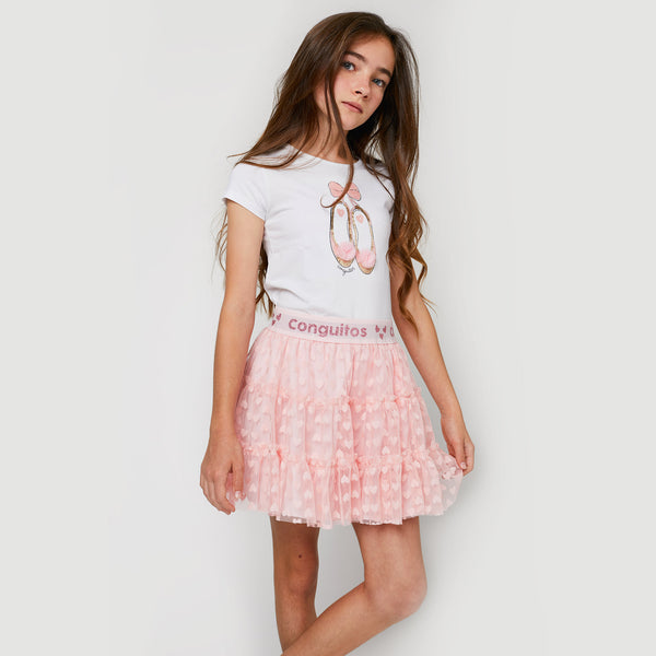 Girls Heart Light Pink Tulle Skirt