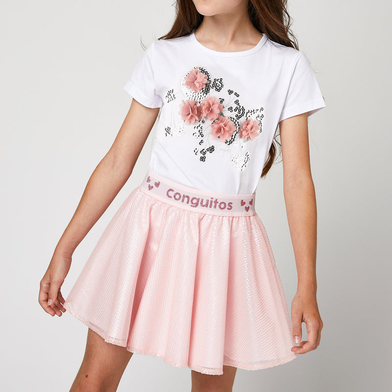 Girls Light Pink Sequins Skirt