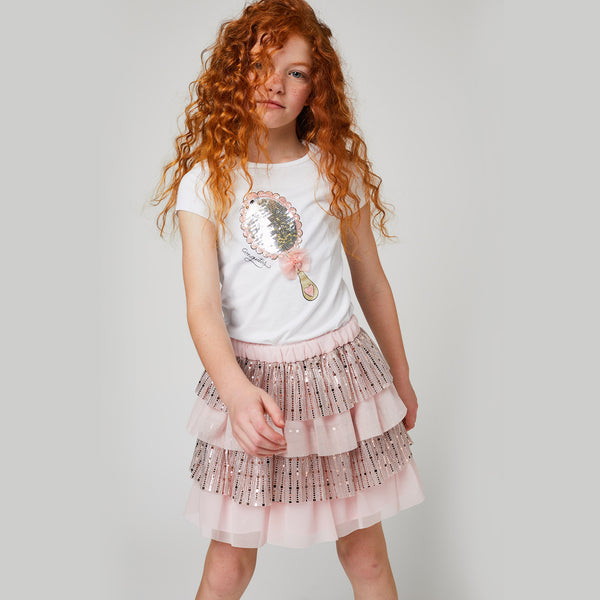 Girls Sequins Light Pink Ruffles Skirt