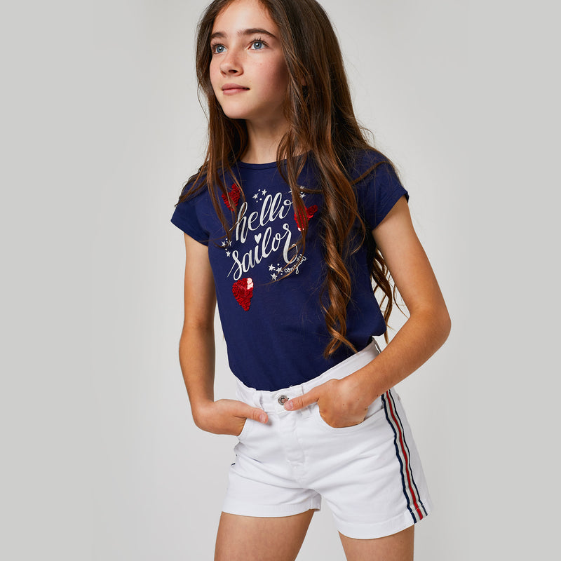 Girls White Denim Side Band Shorts