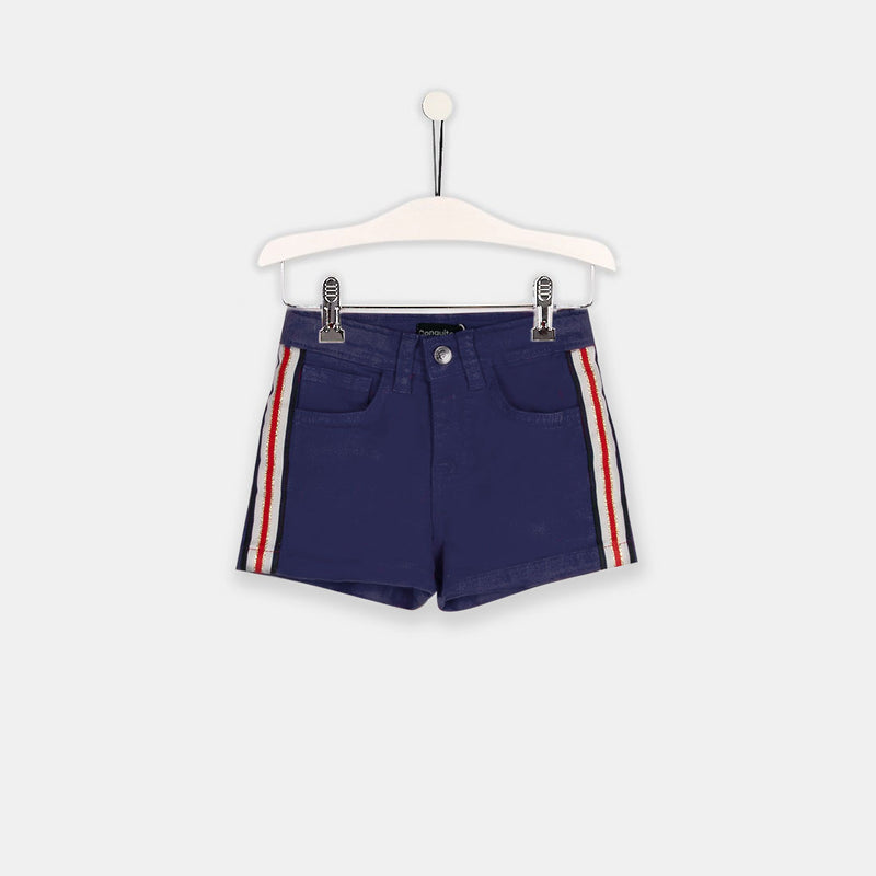 Girls Navy Denim Side Band Shorts
