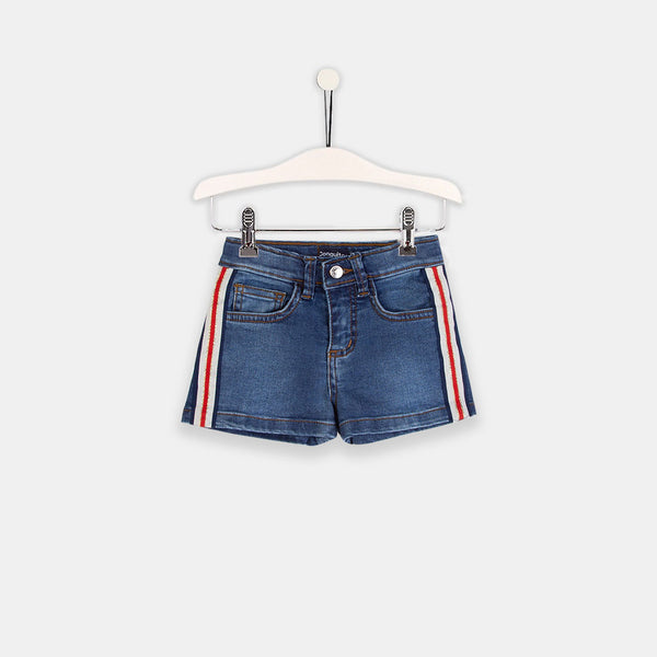 Girls Sideband Denim Middle Shorts