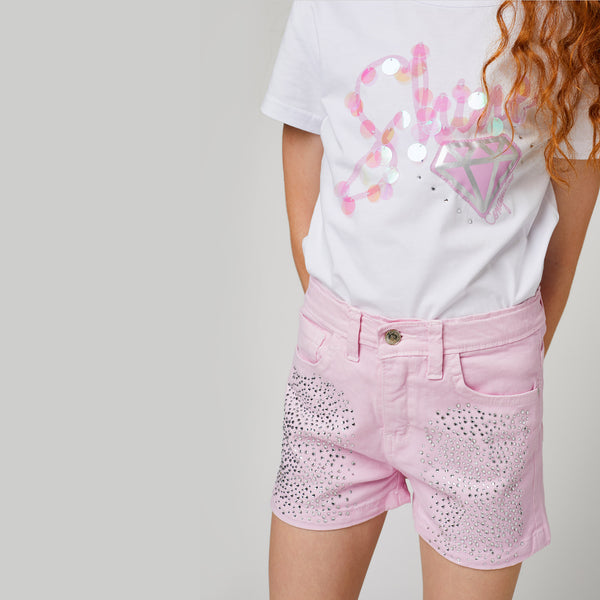 Girls Pink Strass Shorts