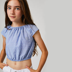 Girls Blue Plumeti Strass Top