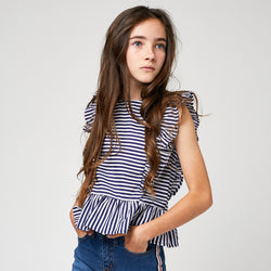 Girls Navy Striped Blouse
