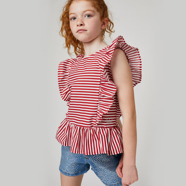 Girls Red Stripes Blouse