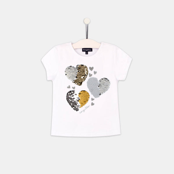 "Girls ""Hearts"" White Reversible Sequins T-shirt"