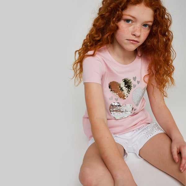 "Girls ""Hearts"" Reversible Sequins T-shirt"