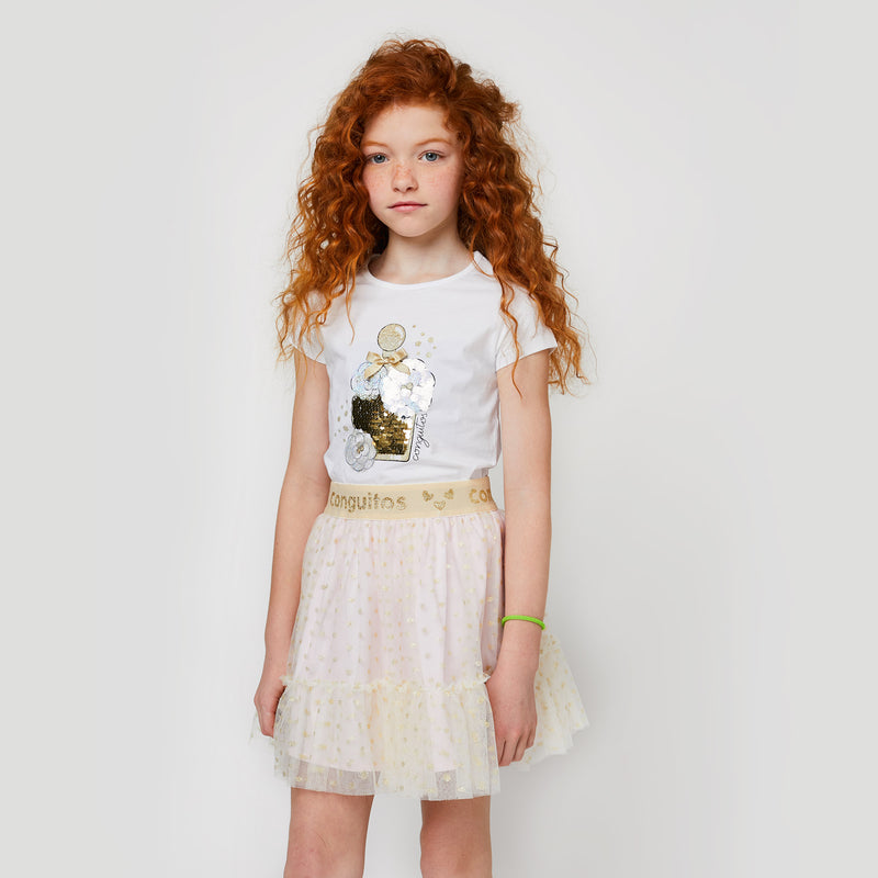 "Girls ""Perfume"" White Reversible Sequins T-Shirt"