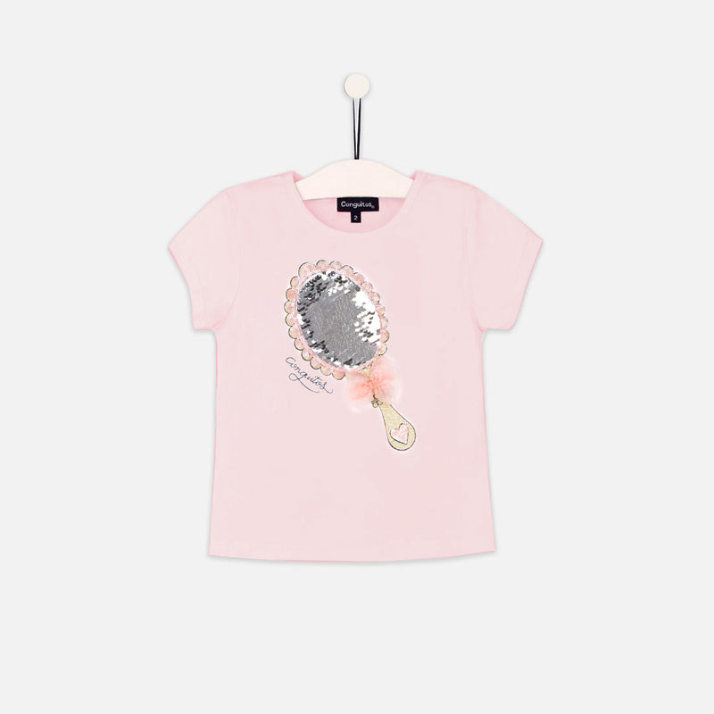 "Girls ""Mirror"" Pink Reversible Sequins T-shirt"