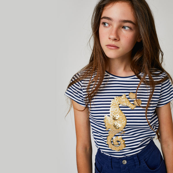 "Girls ""Seahorse"" Navy Glow in the Dark T-Shirt"