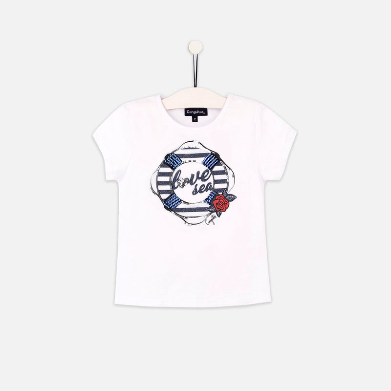"Girls ""Float"" White T-shirt"