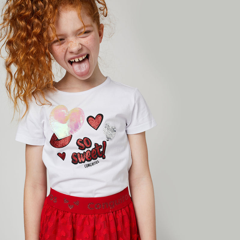 "Girls ""Hearts"" Colour-Changing T-Shirt"