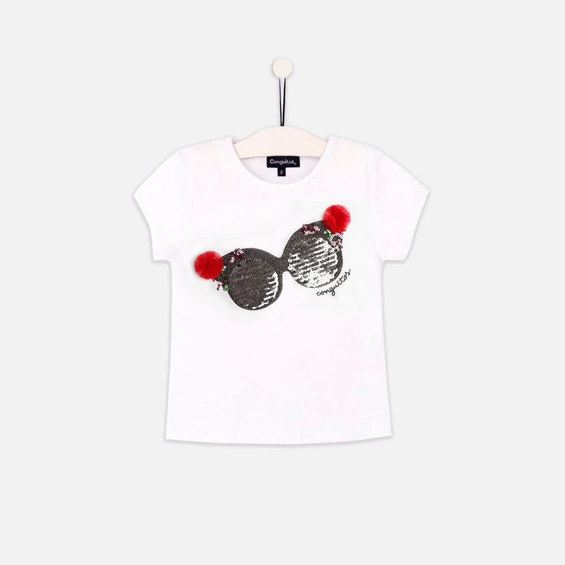 "Girls ""Glasses"" Reversible Sequins White T-shirt"
