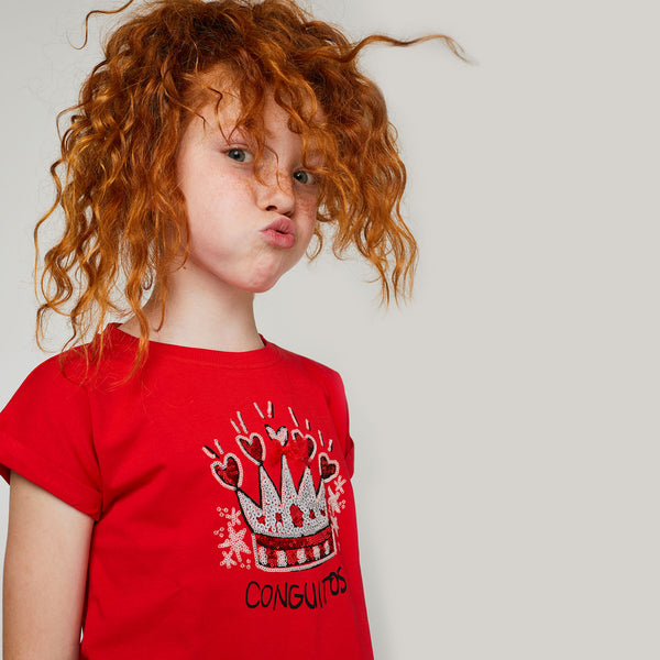 "Girls ""Crown"" Glitter Glow in the Dark Red T-Shirt"