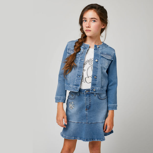Girls Light-Wash Denim Jacket