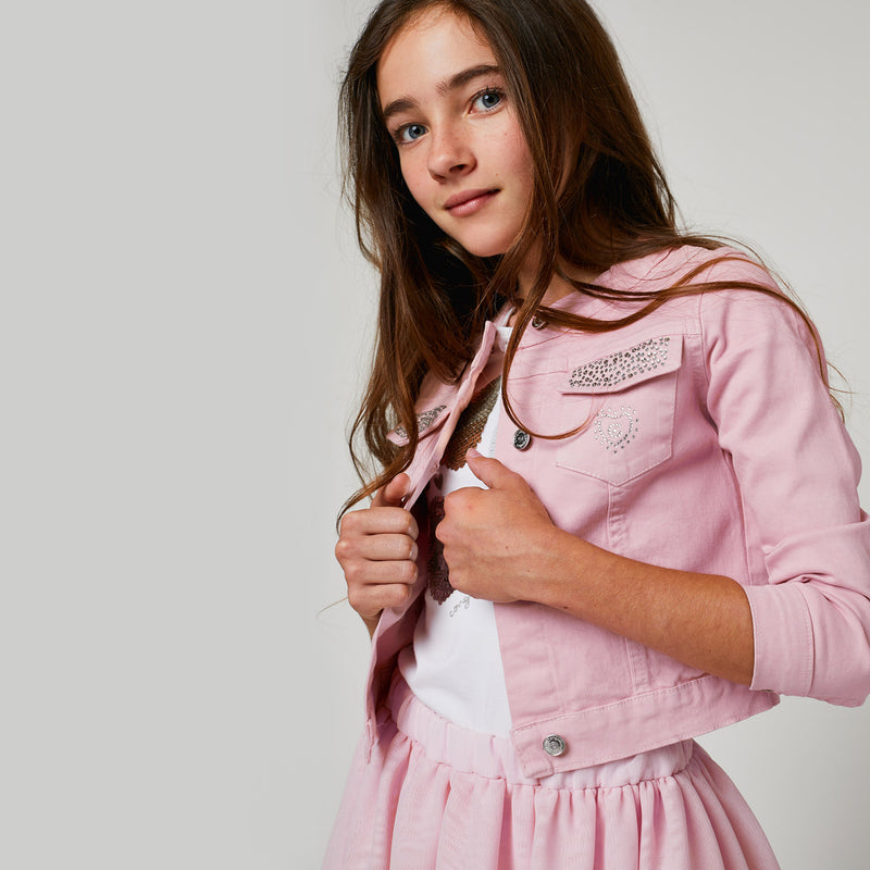 Girls Pink Strass Jacket