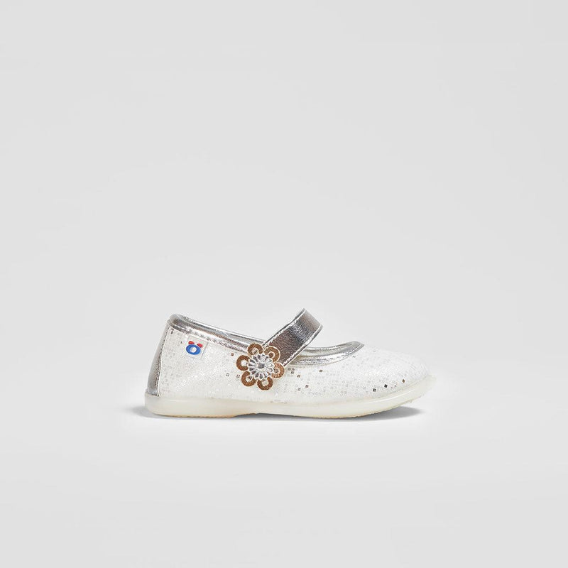 Babies Flowers Metallic Silver Mary Janes