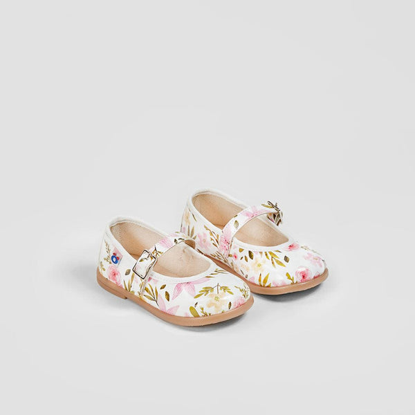 Babies White Leather flowers printed Mary Janes