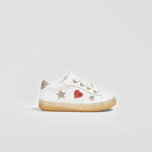 "Baby's ""Heart and Stars"" White Sneakers"