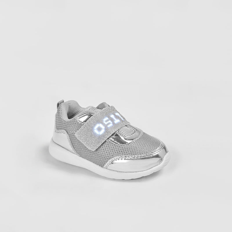 Baby's Silver Sneakers with Led Lights