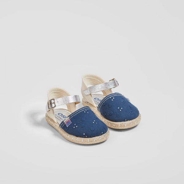Baby's Navy Embroidered Sandals