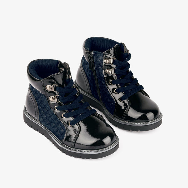 Girl's Navy Quilted Patent Leather Boots