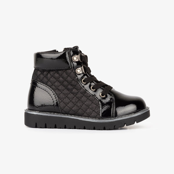 Girl's Black Quilted Patent Leather Boots