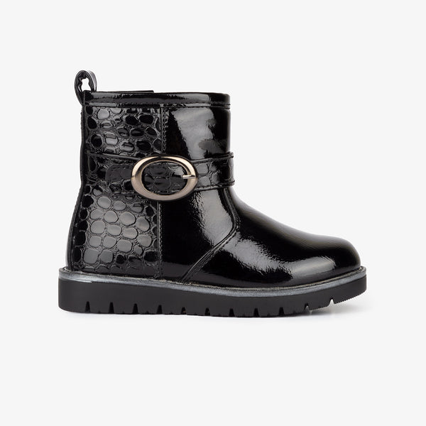 Girl's Black Coco Patent Leather Boots