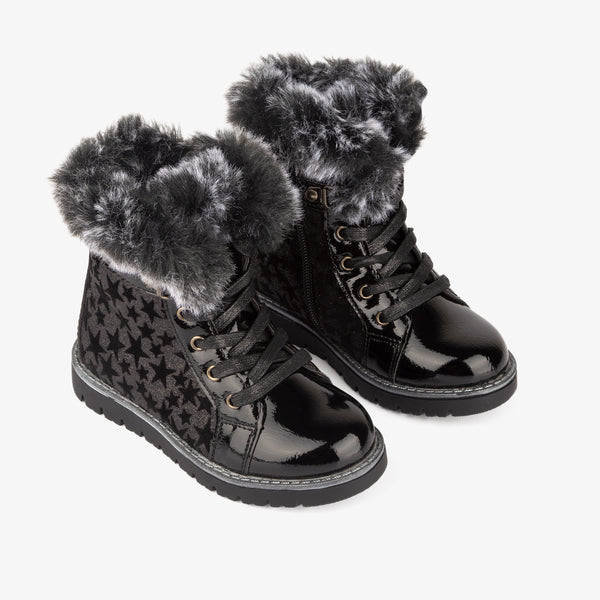 Girl's Black Glitter Star Boots
