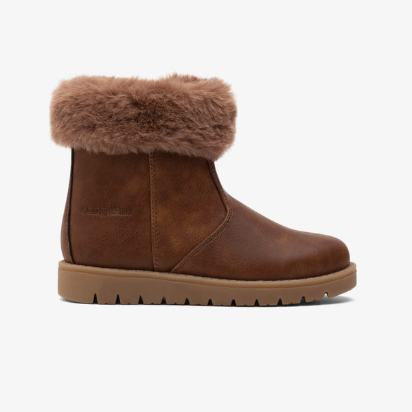 Girl's Brown Fur Boots