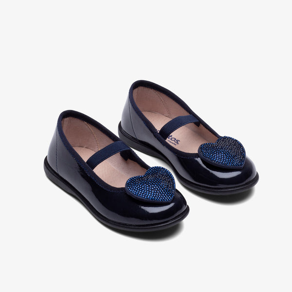 Girl's Navy Heart Patent Leather
