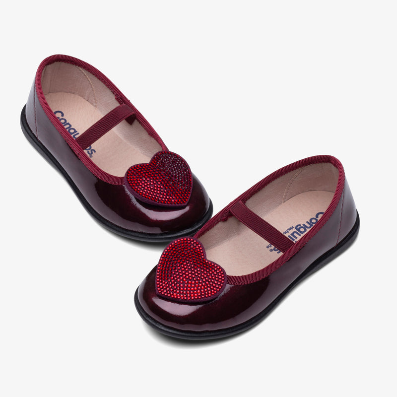 Girl's Bordeaux Heart Patent Leather