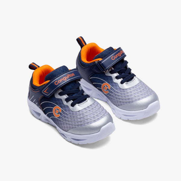 Boy's Navy Orange Sneakers with Lights