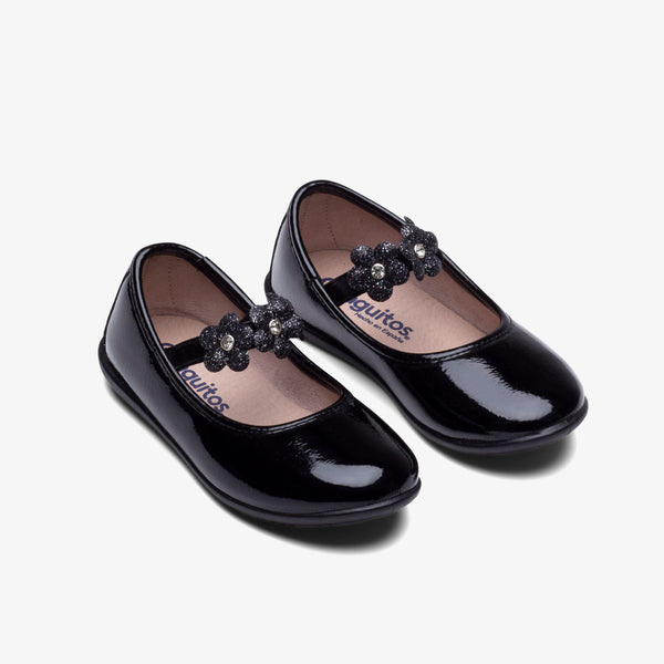 Girl's Black Patent Leather Ballerinas