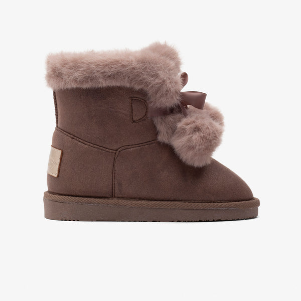 Girl's Taupe Pompom Australian Boots