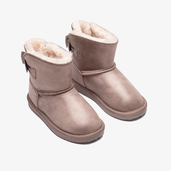 Girl's Taupe Strass Bow Australian Boots