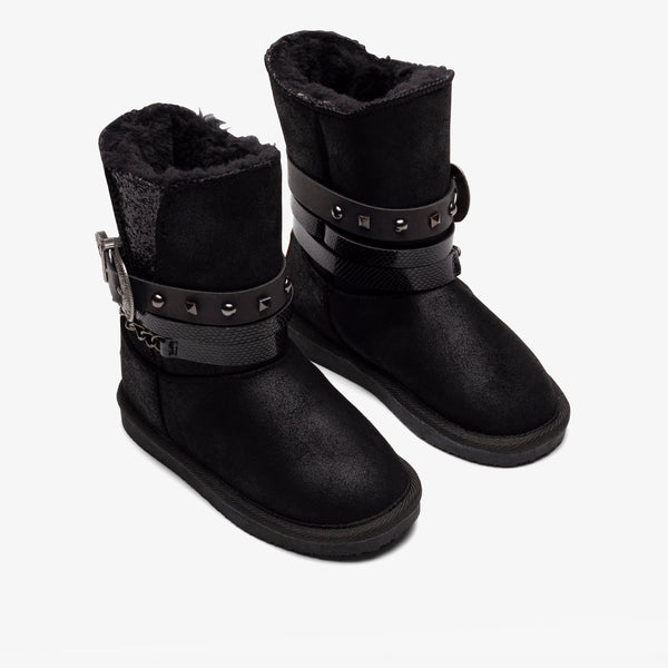 Girl's Black Buckle Australian Boots