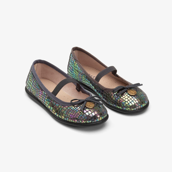 Girl's Grey Iridescent Ballerinas