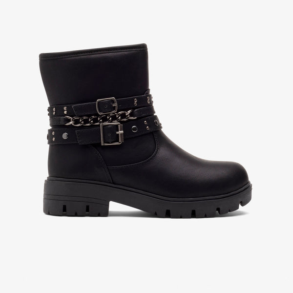 Girl's Black Chain Boots