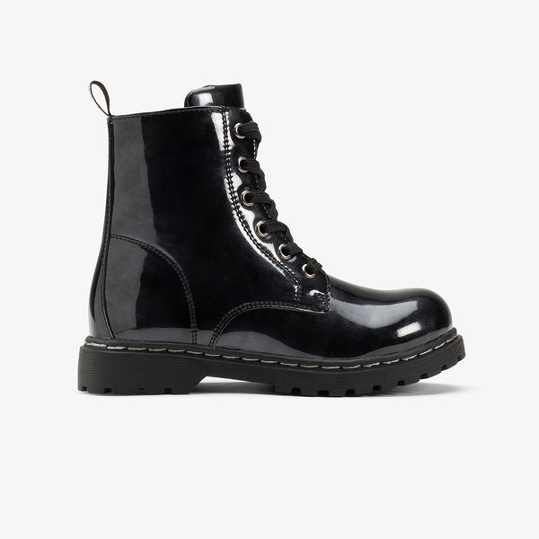 Children's Black Patent Leather Boots
